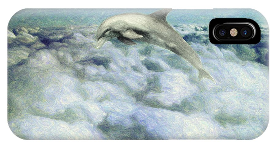Dolphin IPhone X Case featuring the painting Voyage by Zapista