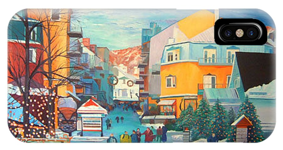 Ski Hill IPhone X Case featuring the painting Vue Du Diable by Blaine Filthaut