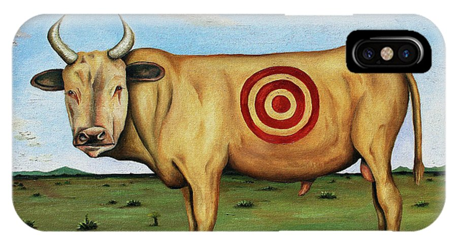 Bull IPhone X Case featuring the painting W T F by Leah Saulnier The Painting Maniac