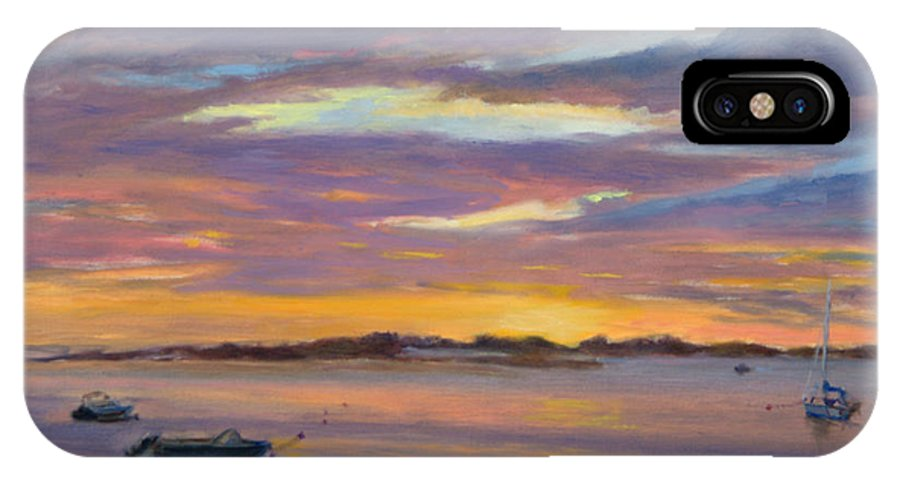 Landscape IPhone Case featuring the painting Wades Beach Sunset by Phyllis Tarlow