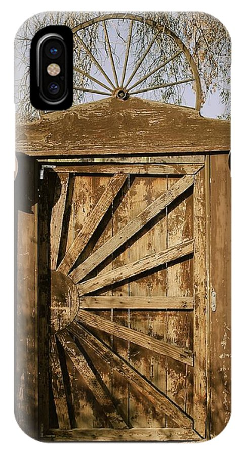 Wagon Wheel IPhone X Case featuring the photograph Wagon Wheel Gate by Katy Granger