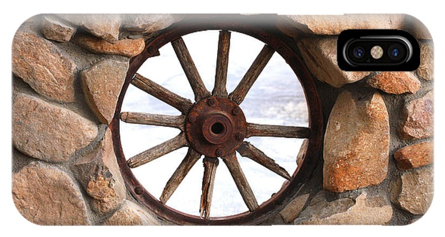 Wagon Wheel IPhone X Case featuring the photograph Wagon Wheel Window by Art Block Collections