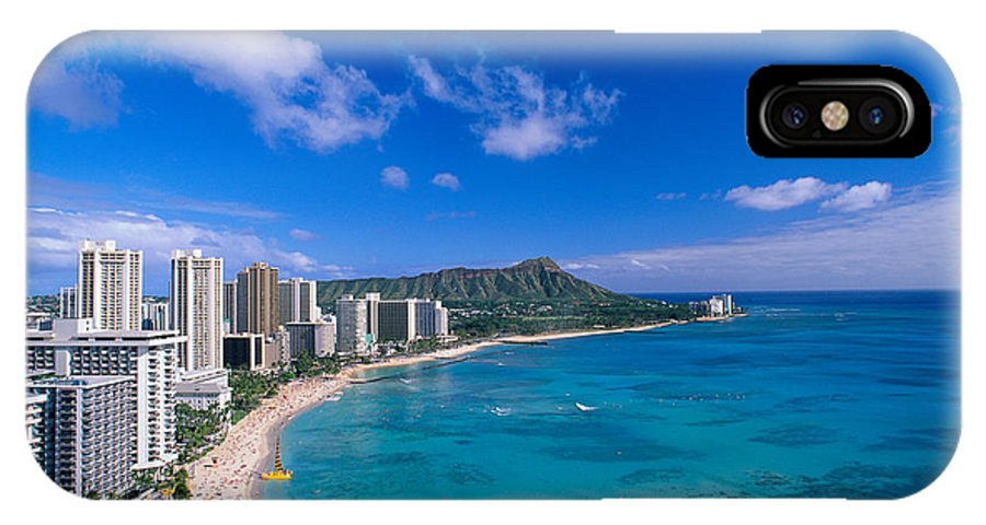 Aerial IPhone X Case featuring the photograph Waikiki And Diamond Head by William Waterfall - Printscapes