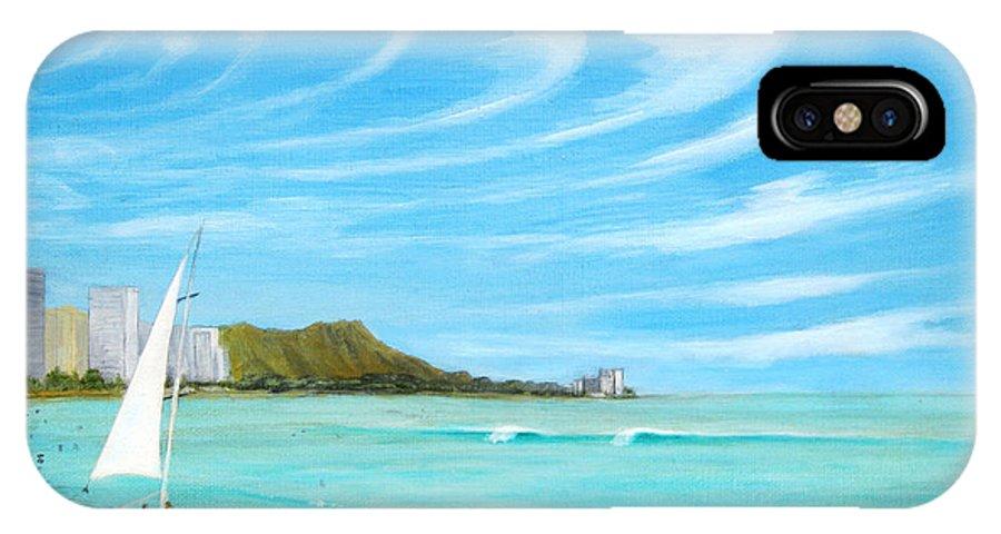 Waikiki IPhone X Case featuring the painting Waikiki by Jerome Stumphauzer