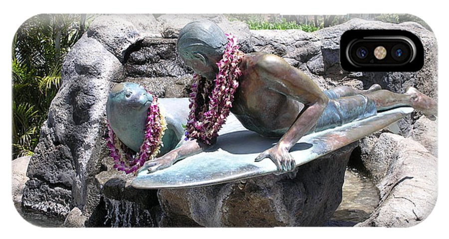 Statue IPhone X Case featuring the photograph Waikiki Statue - Surfer Boy And Seal by Mary Deal