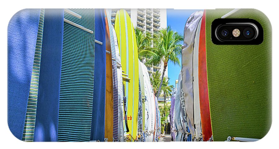 Surf IPhone X Case featuring the photograph Waikiki Surfboards by G Ward Fahey