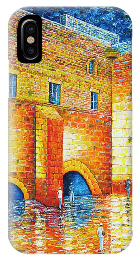 Western Wall IPhone X Case featuring the painting Wailing Wall Original Palette Knife Painting by Georgeta Blanaru