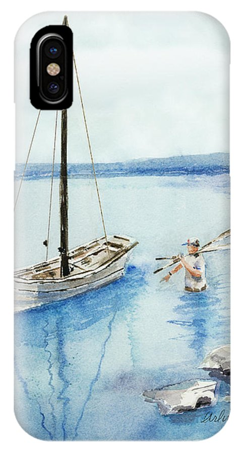 Boat IPhone X Case featuring the painting Waist Deep by Arline Wagner