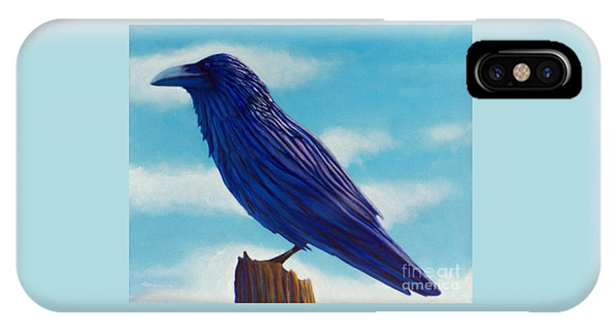 Raven IPhone X Case featuring the painting Waiting by Brian Commerford