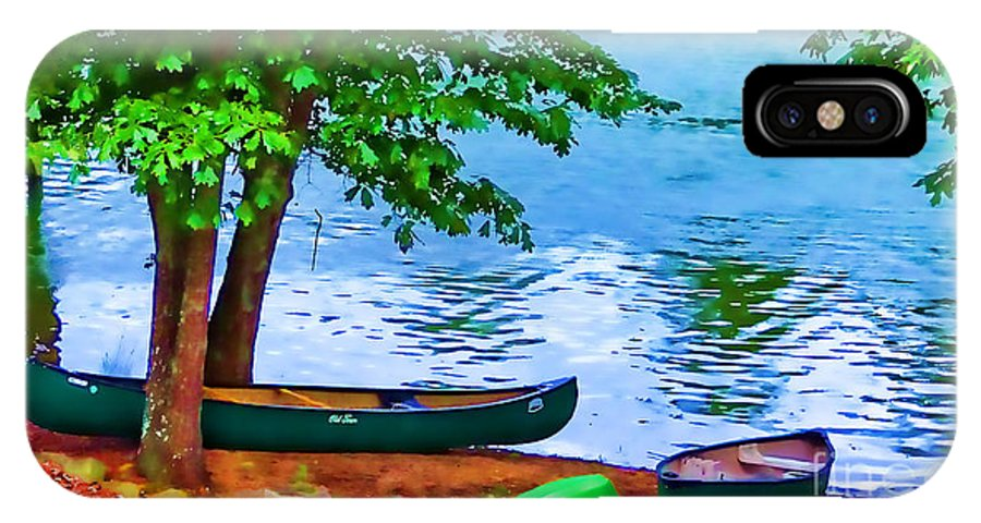Canoe IPhone X / XS Case featuring the photograph Waiting By The River by Doug Berry