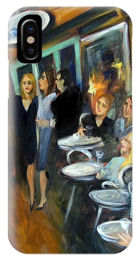 Sidewalk Cafe IPhone X Case featuring the painting Waiting For A Table by Valerie Vescovi