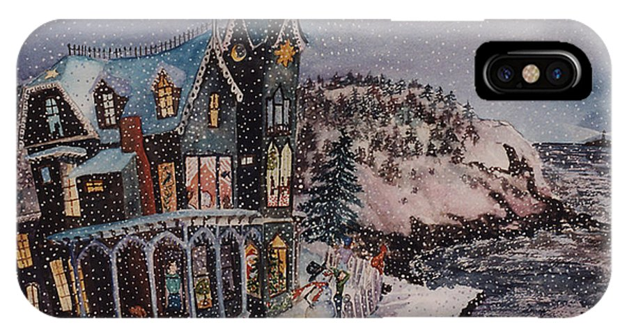 Santa IPhone X Case featuring the painting Waiting For Santa by Cori Caputo