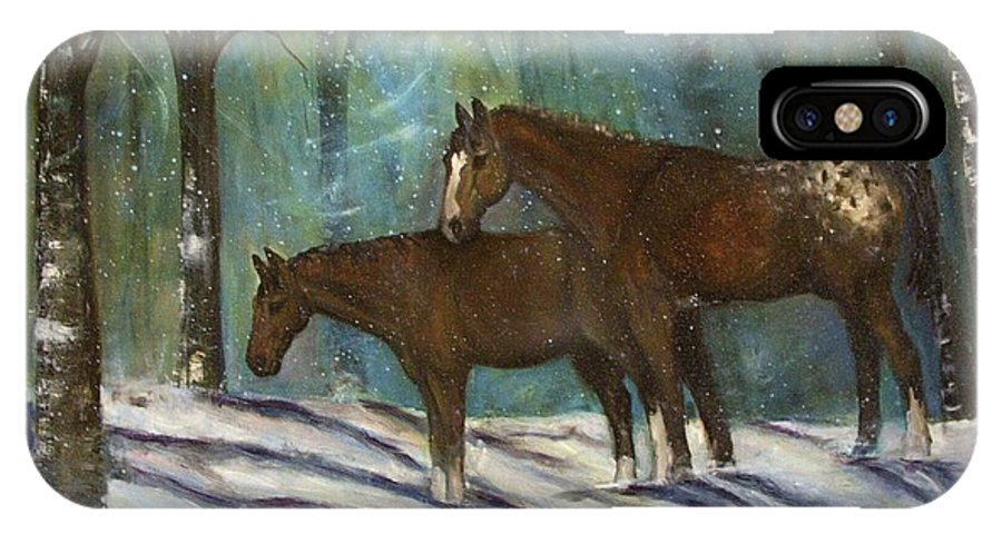 Horses IPhone X Case featuring the painting Waiting For Spring by Darla Joy Johnson