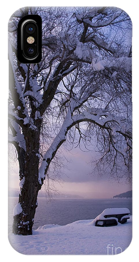 Bench IPhone X Case featuring the photograph Waiting For Spring by Idaho Scenic Images Linda Lantzy