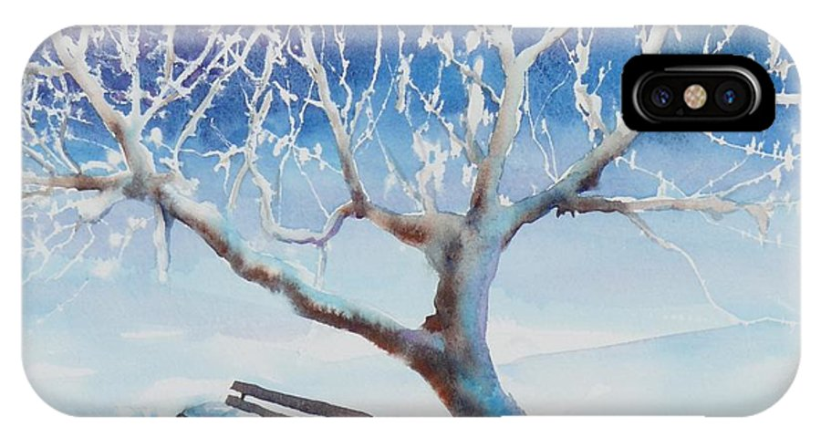 Snow IPhone Case featuring the painting Waiting For Spring by Ruth Kamenev