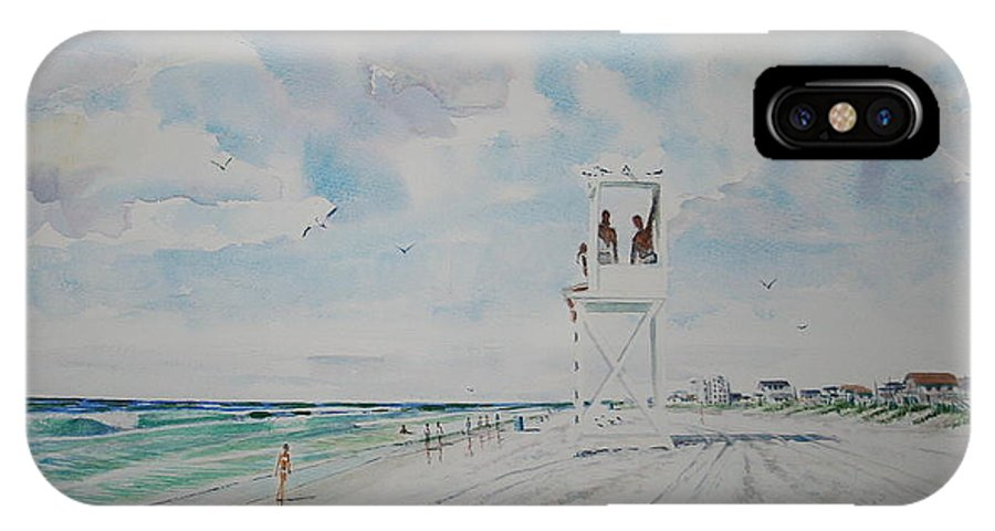 Ocean IPhone X Case featuring the painting Waiting For The Lifeguard by Tom Harris