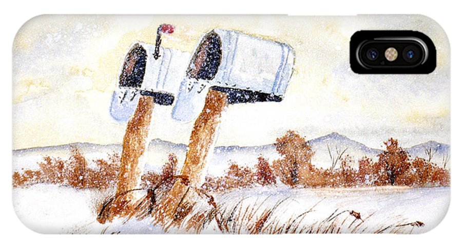 Snow IPhone X Case featuring the painting Waiting For The Mail by Rich Stedman