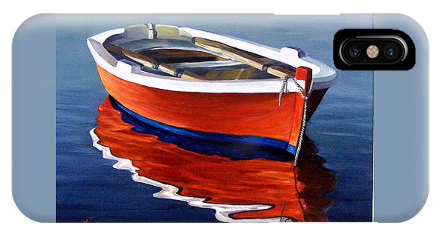 Seascape Water Boat Reflection Ocean Sea IPhone X Case featuring the painting Waiting by Natalia Tejera