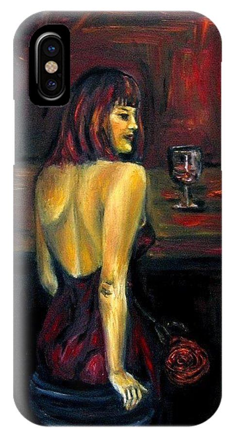 Woman IPhone X Case featuring the painting Waiting... Oil Painting  by Natalja Picugina