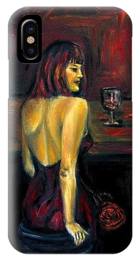 Woman IPhone X / XS Case featuring the painting Waiting... Oil Painting  by Natalja Picugina