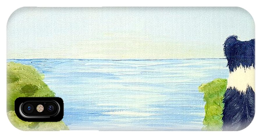 Border Collie IPhone X Case featuring the painting Waiting by Suzan Roberts-Skeats