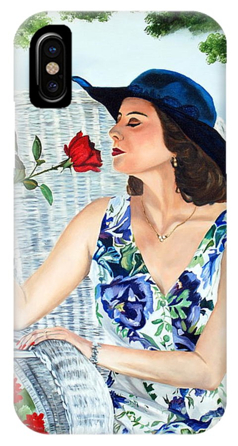Woman IPhone Case featuring the painting Wake Up And Smell The Rose by Margaret Fortunato