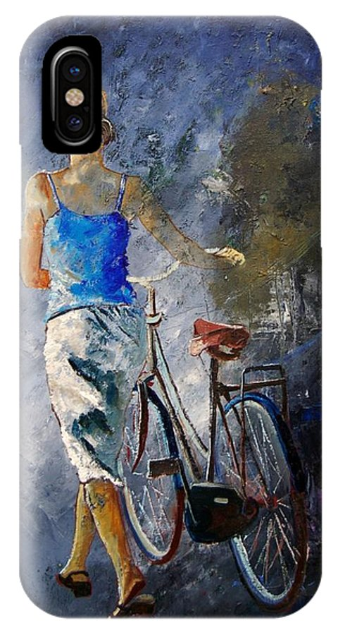 Girl IPhone Case featuring the painting Waking Aside Her Bike 68 by Pol Ledent