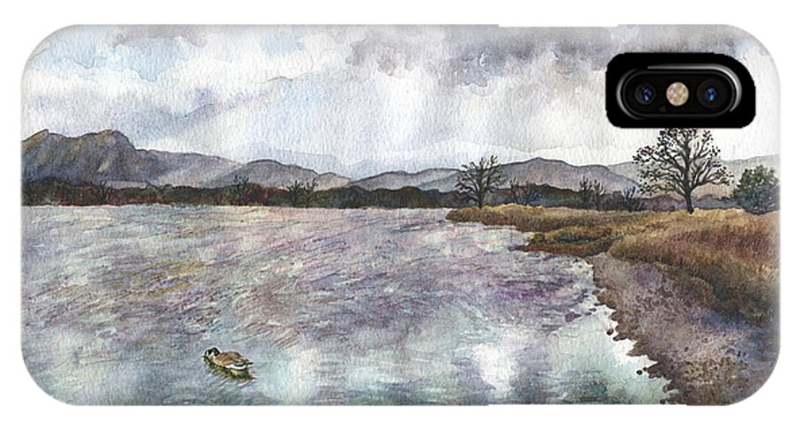Rocky Mountain Painting IPhone X Case featuring the painting Walden Ponds On An April Evening by Anne Gifford