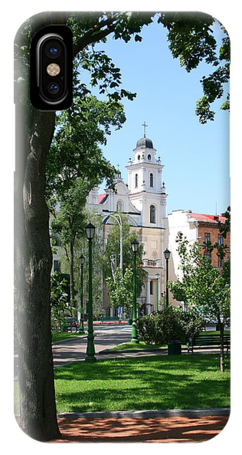Park City Tree Trees Flowers Church Building Summer Blue Sky Green Walk Bench IPhone X Case featuring the photograph Walk In The Park by Andrei Shliakhau
