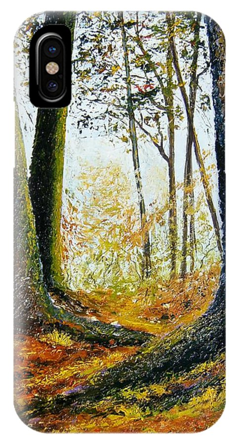 Landscape IPhone X Case featuring the painting Walk In The Woods by Tami Booher