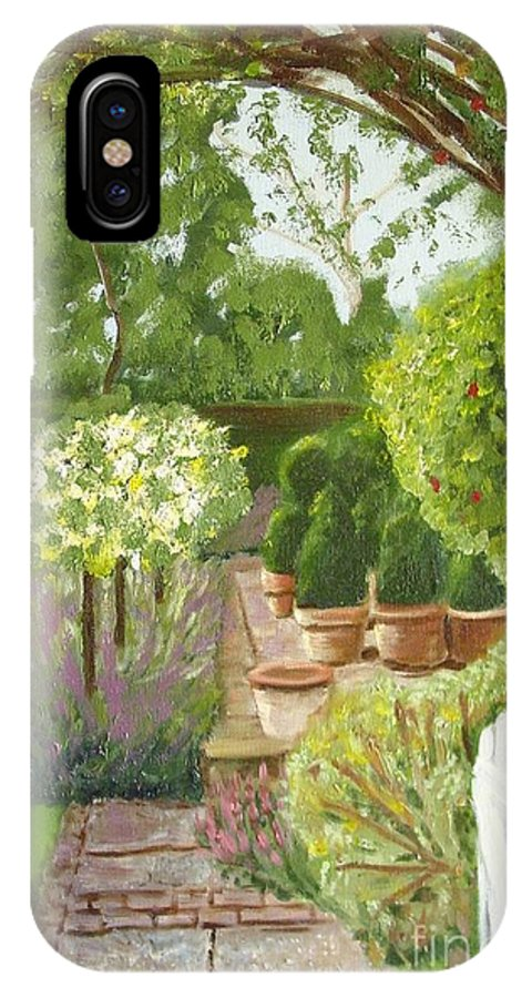 Garden IPhone X Case featuring the painting Walk With Me by Laurie Morgan