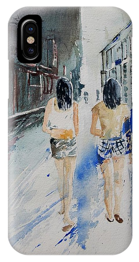 Girl IPhone Case featuring the painting Walking In The Street by Pol Ledent