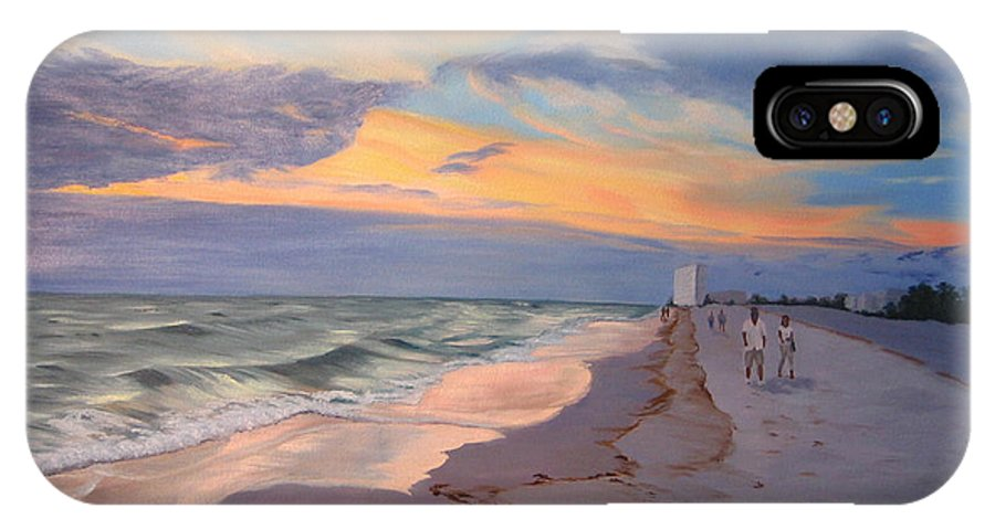 Seascape IPhone X Case featuring the painting Walking On The Beach At Sunset by Lea Novak