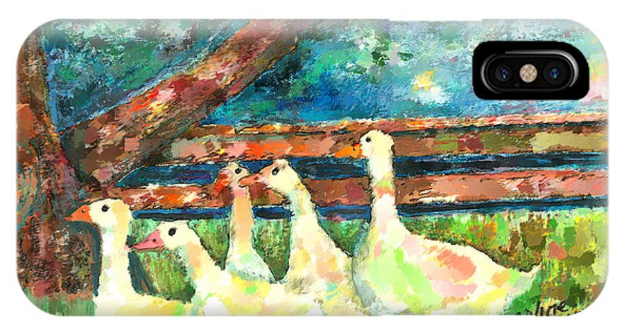 Ducks IPhone X Case featuring the mixed media Walking Through The Grass by Arline Wagner