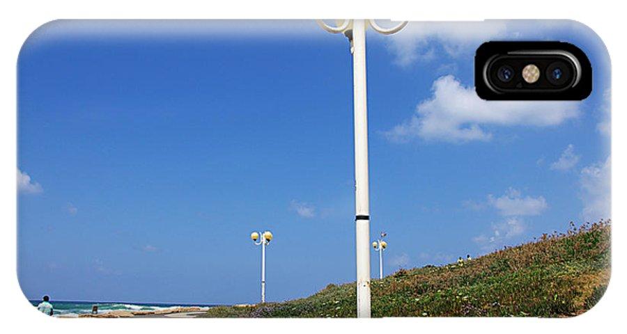 Tel Aviv IPhone X Case featuring the photograph walkway along the Tel Aviv beach by Zal Latzkovich
