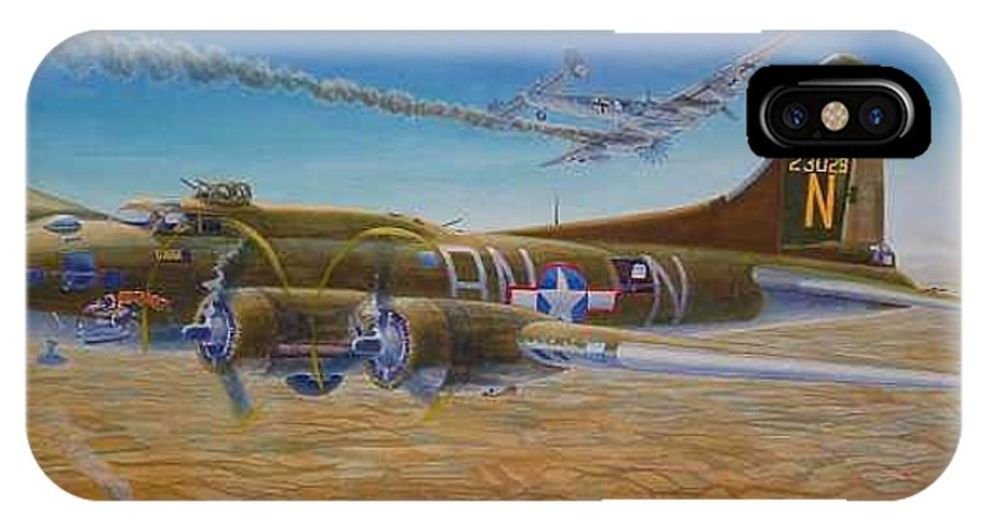 B-17 wallaroo Over Schwienfurt IPhone X Case featuring the painting Wallaroo At Schwienfurt by Scott Robertson