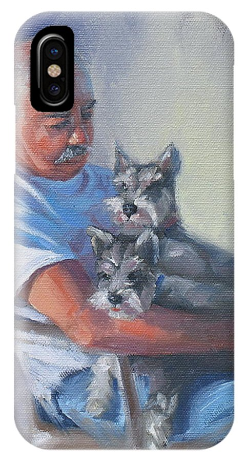 Portrait IPhone X Case featuring the painting Walter And The Kids by Laura Lee Zanghetti