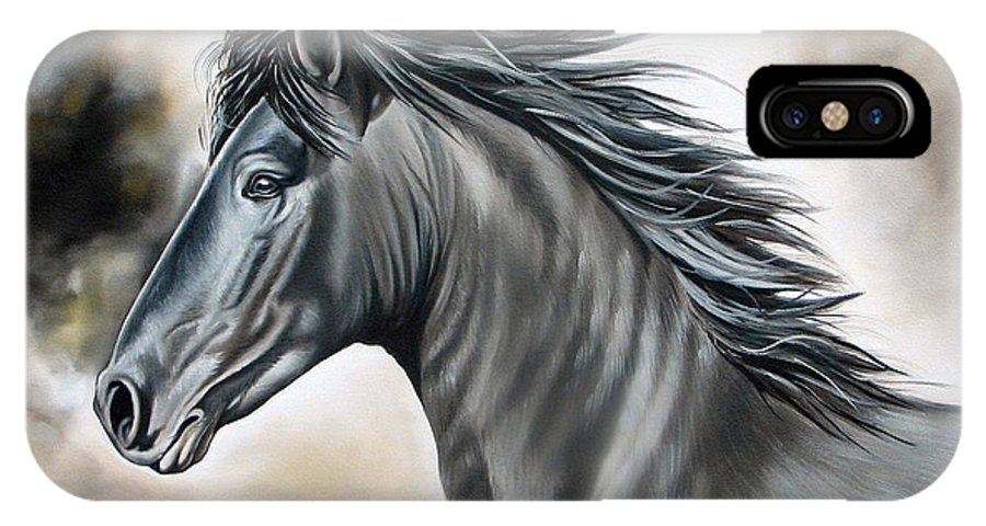 Horse IPhone X Case featuring the painting Wanapun by Ilse Kleyn