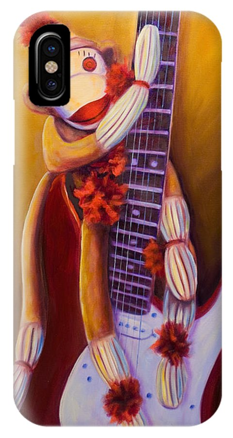 Monkey IPhone X Case featuring the painting Wanna Be A Rocker by Shannon Grissom