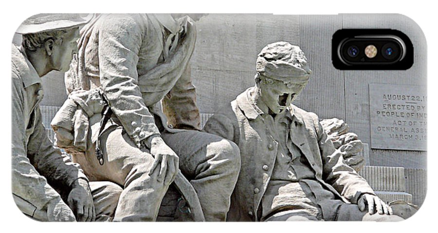 Statue IPhone X Case featuring the photograph War Has Always Been Hell by Mark Grayden