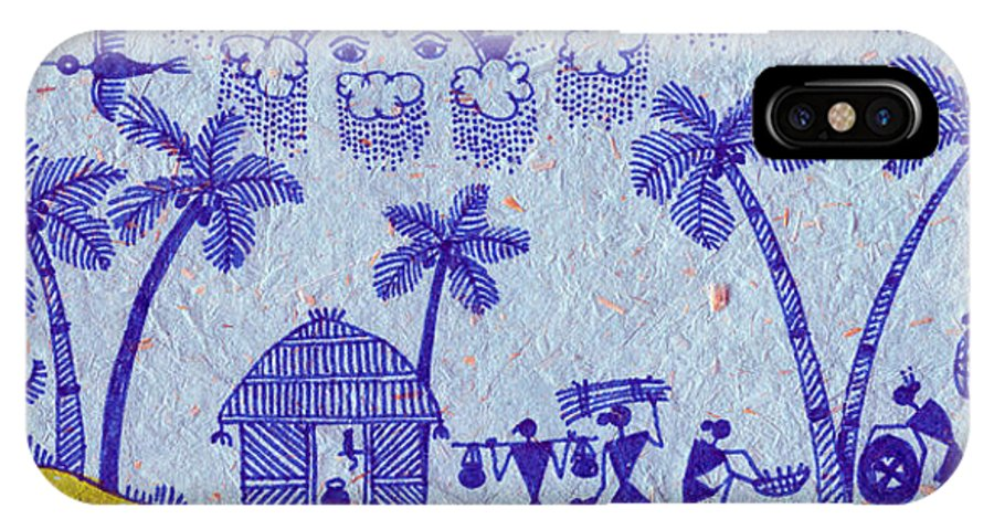 Warli Art Canvas Prints Canvas Prints IPhone X Case featuring the painting Warli Morning by Subhash Limaye