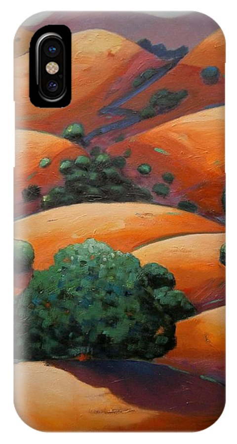 California Landscape IPhone X Case featuring the painting Warm Afternoon Light On Ca Hillside by Gary Coleman