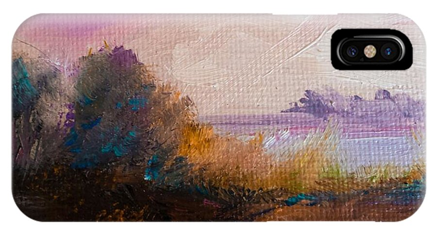 Landscape IPhone X Case featuring the painting Warm Colorful Landscape by Michele Carter