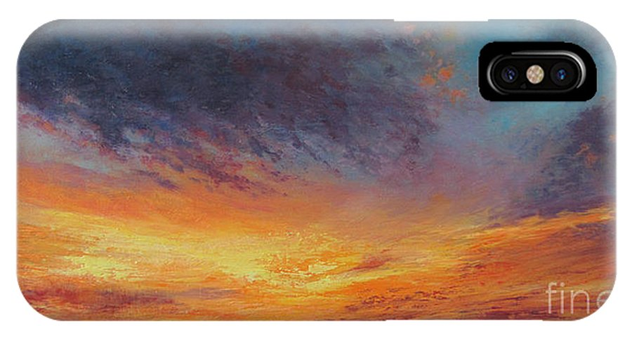 Sunset Sky IPhone X / XS Case featuring the painting Warm Embrace by Valerie Travers