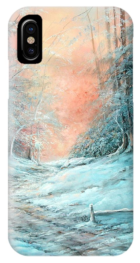 Winter IPhone X Case featuring the painting Warm Winter Fantasy by Sally Seago