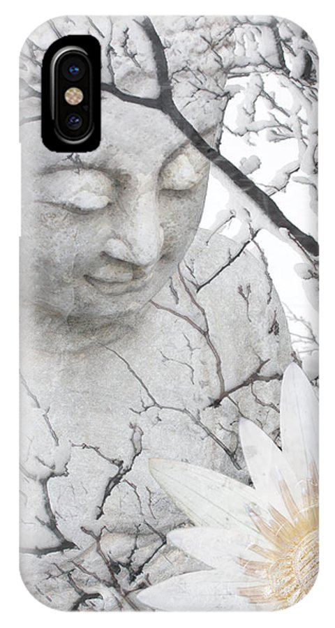 Buddha IPhone X Case featuring the mixed media Warm Winter's Moment by Christopher Beikmann