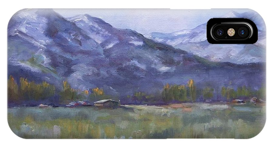 Mountains IPhone X Case featuring the painting Wasacth View by Ruth Stromswold