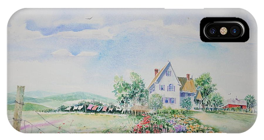 Landscape IPhone X Case featuring the painting Wash Day In The Blue Ridge by Tom Harris