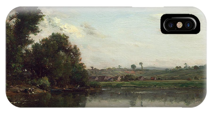Barbizon School IPhone X Case featuring the painting Washerwomen At The Oise River Near Valmondois by Charles-Francois Daubigny