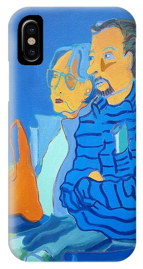 People IPhone X Case featuring the painting Watching Lindas Demo by Debra Bretton Robinson